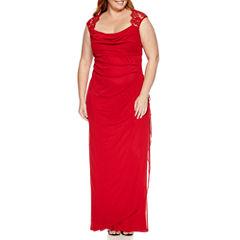Scarlett Sleeveless Faux-Wrap Lace Trim Gown - Plus
