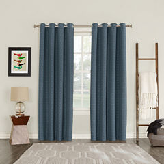 Sun Zero Blackout Tayden Yarn Dyed Woven Grommet-Top Curtain Panel