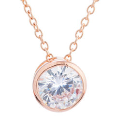 Silver Treasures Womens Clear 14K Pendant Necklace