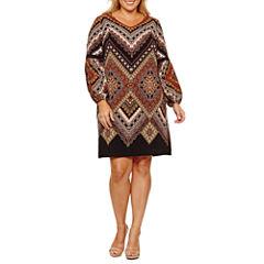 MSK Long Sleeve Geometric Sheath Dress-Plus