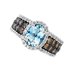 Womens 1/2 CT. T.W. High Pressure/High Temperature Blue Aquamarine 14K Gold Cocktail Ring