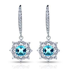 Blue Topaz Sterling Silver Clip On Earrings