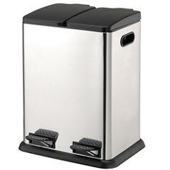 Neu Home 2 Comp. Square Step-On Recycling Bin (20L x2)