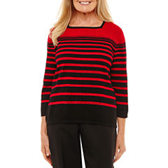 Alfred Dunner Square Neck Embellished Sweater