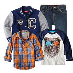 Arizona Raglan Tee, Button-Front Shirt, Jeans or Varsity Jacket - Boys