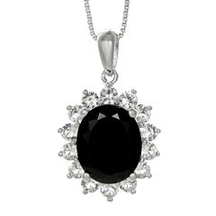 Oval Genuine Black Onyx and Lab-Created White Sapphire Pendant Necklace