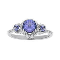 1/5 CT. T.W. Diamond and Genuine Tanzanite 10K White Gold 3-Stone Ring