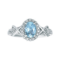 1/4 CT. T.W. Diamond and Genuine Aquamarine 10K White Gold Ring