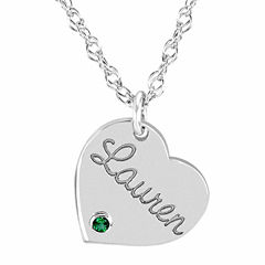 Personalized Birthstone Name Heart Pendant Necklace
