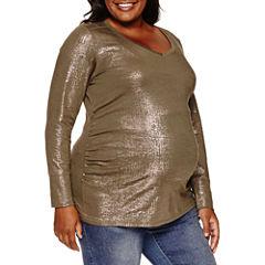 a.n.a Long Sleeve V Neck T-Shirt-Womens Plus Maternity