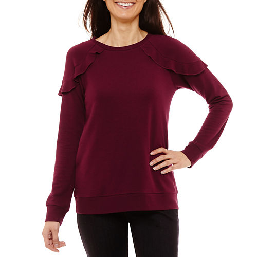 Liz Claiborne 3/4 Sleeve Sweatshirt-Petites
