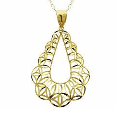 10K Yellow Gold Diamond-Cut Teardrop Pendant Necklace