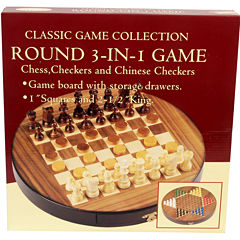 Walnut Inlaid Round 3-In-1 Game Set