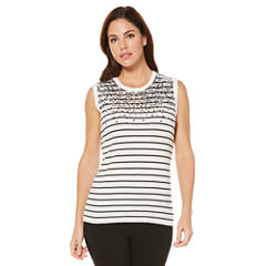 Rafaella Sleeveless Crew Neck Stripe Pullover Sweater