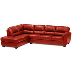Leather Possibilities Pad-Arm 2-pc. Left-Arm Corner Sectional