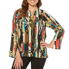 Rafaella Long Sleeve Split Crew Neck Woven Floral Blouse