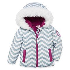 US Polo Assn. Heavyweight Chevron Puffer Jacket - Girls-Baby