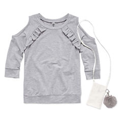 Beautees Cold Shoulder Long Sleeve Ruffle Top with Purse- Girls' 7-16
