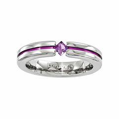 Edward Mirell Mens Genuine Purple Amethyst Titanium Wedding Band