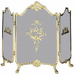 Blue Rhino 3 Fold Ornate Cast Solid Brass Fireplace Screen