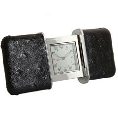Natico Portable Black Leather Slide Travel Clock