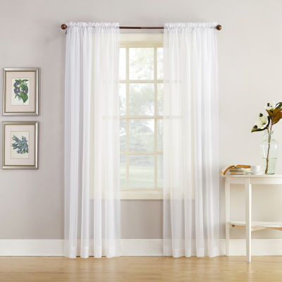 home expressions jacqueline rodpocket sheer panel pair - 63 Inch Curtains