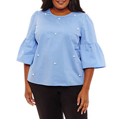 a.n.a 3/4 Sleeve Round Neck Woven Blouse-Plus