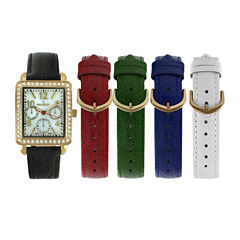 Peugeot® Womens Crystal-Accent Interchangeable Leather Strap Watch Set 677G