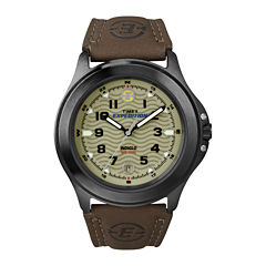 Timex® Expedition® Field Metal Mens Brown Leather Strap Watch T470129J