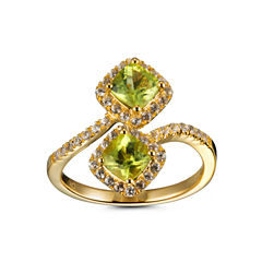 Womens Green Peridot 14K Gold Over Silver Bypass Ring