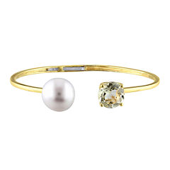 Genuine Yellow Quartz and Cultured Freshwater Pearl Bangle Bracelet