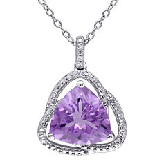 Genuine Purple Amethyst and Diamond–Accent Pendant Necklace