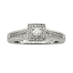 1/4 CT. T.W. Diamond 10K White Gold Promise Ring