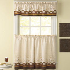 Café Au Lait 3-pc. Rod-Pocket Kitchen Curtain Set