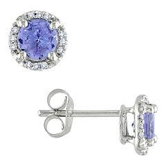 Tanzanite & Diamond-Accent Earrings 10K White Gold