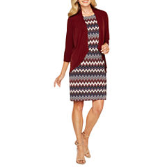 R & K Originals Elbow Sleeve Faux Jacket Dress