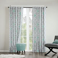 Nile Diamond Geometric Grommet-Top Curtain Panel