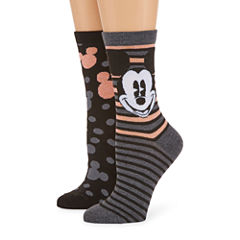 2 Pr Mickey Mouse Giftable Crew Socks - Womens