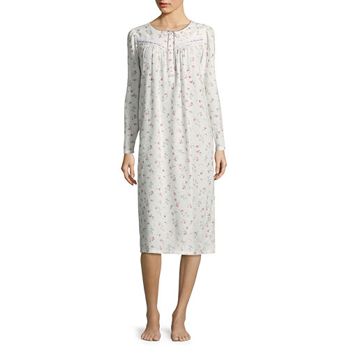 Adonna Flannel Long Sleeve Nightgown - Petites