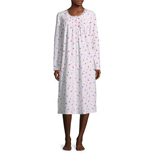 Adonna Microfleece Long Sleeve Nightgown - Petites