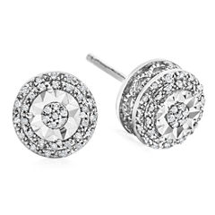LIMITED TIME SPECIAL! 1/10 CT. T.W. Double Halo Diamond Stud Earrings in Sterling Silver