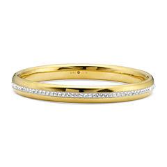 Gold Opulence 14KGold Over Diamond Resin Crystal Bangle Bracelet