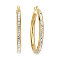 Gold Opulence 14KGold Over Diamond Resin Round Crystal Hoop Earrings