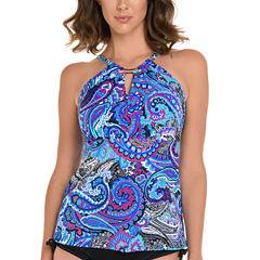 Trimshaper Paisley Tankini Swimsuit Top