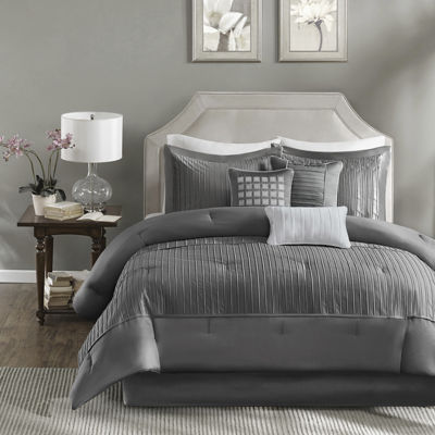 madison park curtis pleated 7pc comforter set