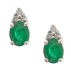 LIMITED QUANTITIES! Diamond Accent Oval Green Emerald 10K Gold Stud Earrings