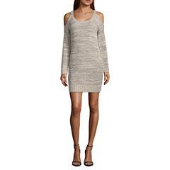 My Michelle Long Sleeve Pattern A-Line Dress-Juniors