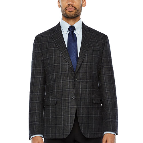 Stafford Merino Wool Sportcoat Gray Navy Plaid - Classic