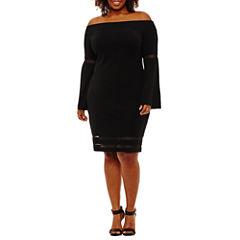 Bold Elements Off The Shoulder Bell Sleeve Dress