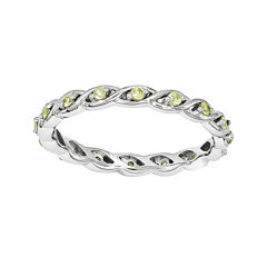 Personally Stackable Genuine Peridot Twisted Eternity Ring